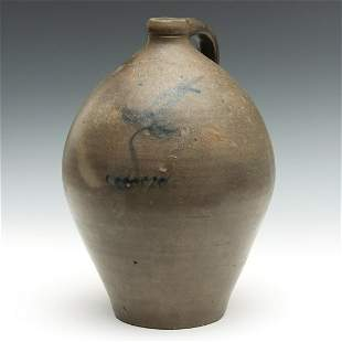 A 19TH CENTURY BLUE DECORATED JUG SIGNED S. S. PERRY