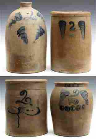 A COLLECTION OF 19TH C. BLUE DECORATED STONEWARE JARS