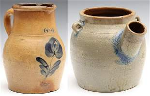 A BLUE DECORATED STONEWARE BATTER JUG AND PITCHER