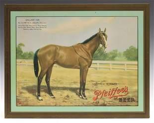 PFEIFFER'S BEER SIGN PICTURING TRIPLE CROWN WINNER