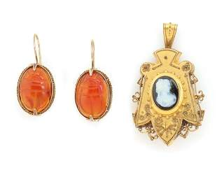 VICTORIAN ETRUSCAN WORK LOCKET AND FRENCH WIRE EARRINGS