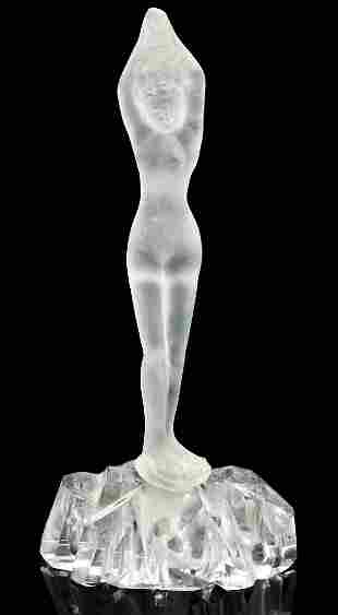 AN ART DECO FROSTED AND CUT BATHER FIGURAL FLOWER FROG