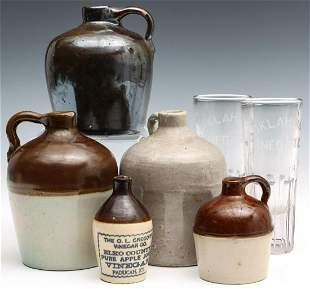 MACOMB AND OTHER MINIATURE AND ADVERTISING JUGS