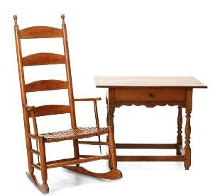 A MAPLE LADDER BACK ROCKING CHAIR WITH TAVERN TABLE