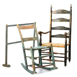 PAINTED 19TH C. AMERICAN FURNITURE AND QUILT STAND