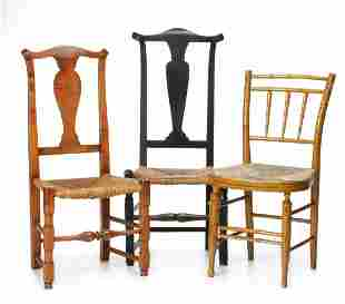 COUNTRY QUEEN ANNE SIDE CHAIRS WITH VASE SPLATS