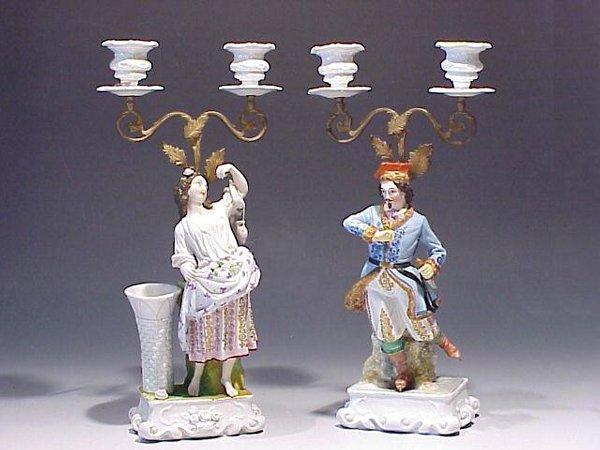 10: Pair Continental Porcelain Figural Candle
