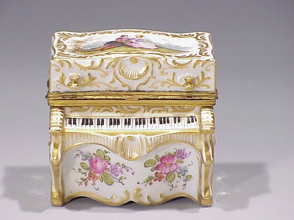 13: French Porcelain Figural Piano Box