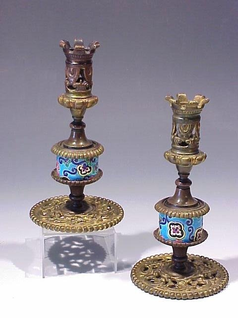 17: Pair Candlesticks with Longwy Pottery