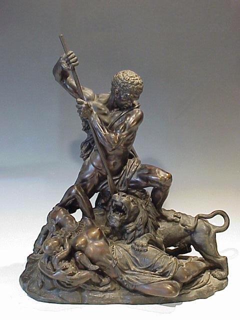 106: Tremendous Bronze Sculpture of Warrior a