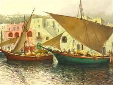 GUIDO ODIERNA (1913-1991) CAPRI SUNSET OIL ON CANVAS