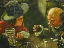 DUTCH SCHOOL OIL ON CANVAS GAMBLERS IN TAVERN SCENE