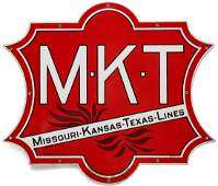 A FOUR-COLOR PORCELAIN ENAMEL SIGN FOR M-K-T RAILROAD