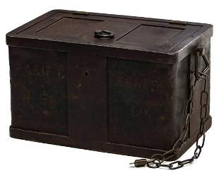 A 19TH CENTURY IRON SAFE LETTERED PACIFIC EXPRESS CO