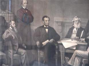 LATE 19TH CENTURY LITHOGRAPH OF LINCOLN AND THE C