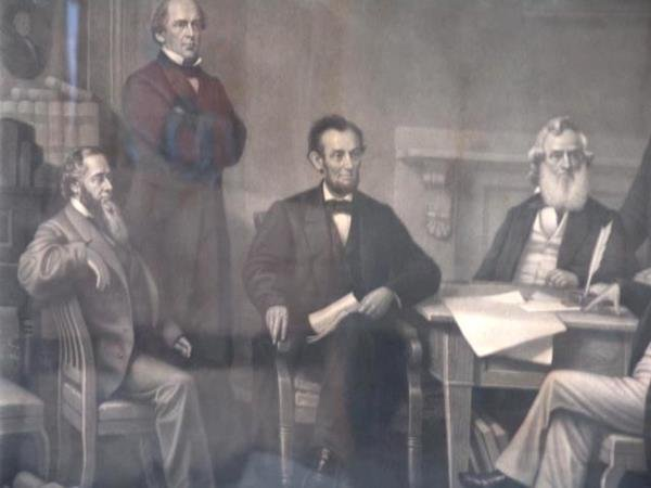 510C: LATE 19TH CENTURY LITHOGRAPH OF LINCOLN AND THE C