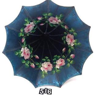 NICE BLUE MORNING GLORY PHONOGRAPH HORN WITH ROSES