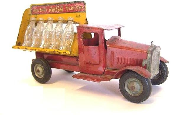 800: 1932 METALCRAFT TOY COCA-COLA TRUCK WITH BOTTLES