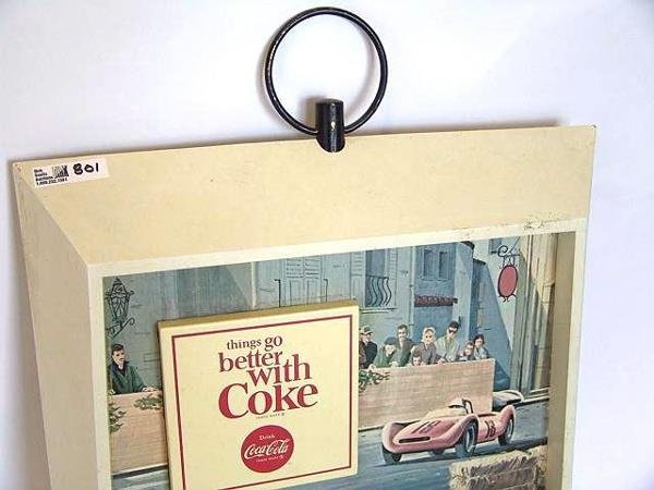 801: 1960'S COCA-COLA PLASTIC SIGN WITH RACE CAR