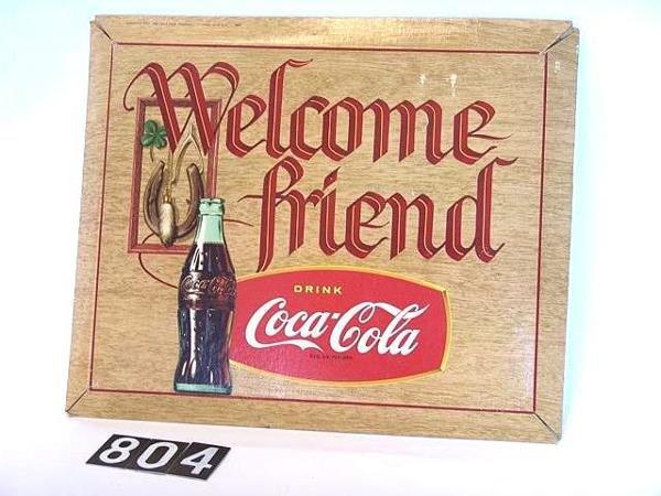804: 1957 COCA-COLA WELCOME FRIENDS CARDBOARD SIGN