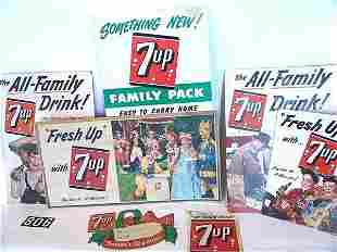 SEVEN CARDBOARD ADVERTISING PIECES FOR SEVEN-UP