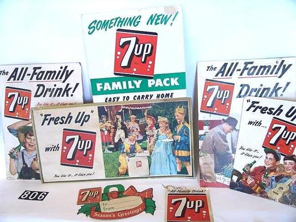 806: SEVEN CARDBOARD ADVERTISING PIECES FOR SEVEN-UP