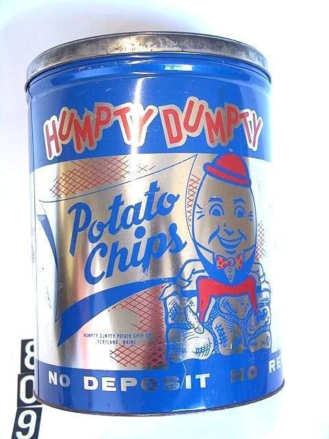 809: 1960'S HUMPTY-DUMPTY LARGE POTATO CHIP TIN