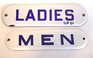 """LADIES"" AND ""MEN"" PORCELAIN SIGNS"
