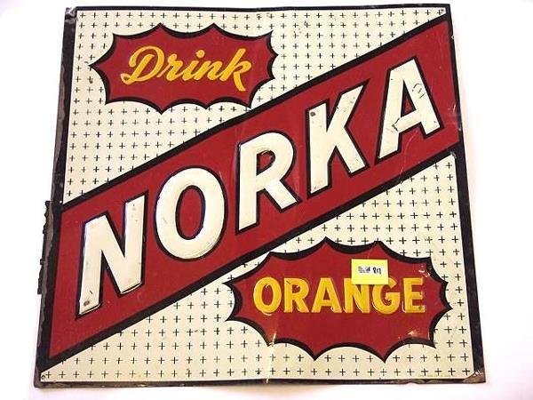 817: NORKA ORANGE SODA POP TIN SIGN