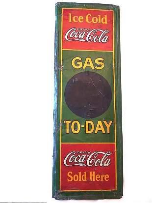 """RARE COCA-COLA 1931 """"GAS TO-DAY"""" TIN SIGN"""