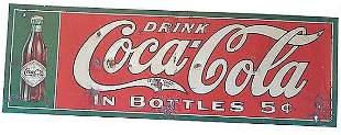 RARE CIRCA 1908 COCA-COLA TIN SIGN, STRAIGHT SIDED