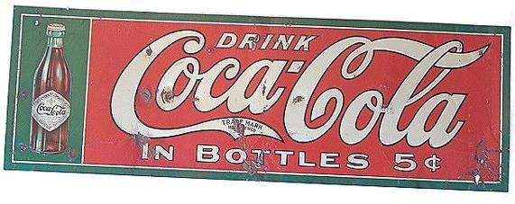 821: RARE CIRCA 1908 COCA-COLA TIN SIGN, STRAIGHT SIDED