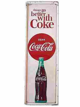 1964 COCA-COLA SELF-FRAMED TIN SIGN