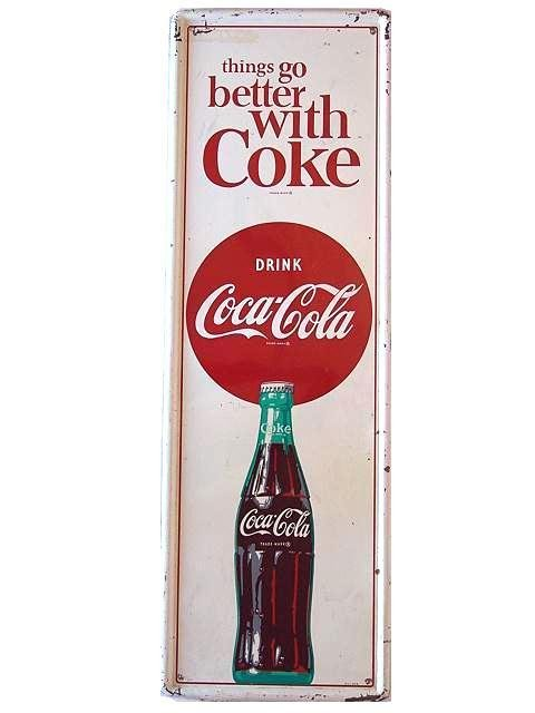 823: 1964 COCA-COLA SELF-FRAMED TIN SIGN