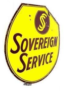 962: SOVEREIGN SERVICE DOUBLE PORCELAIN GASOLINE SIGN