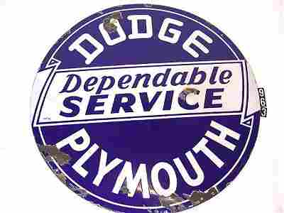 963: DODGE PLYMOUTH DOUBLE PORCELAIN DEALER SIGN