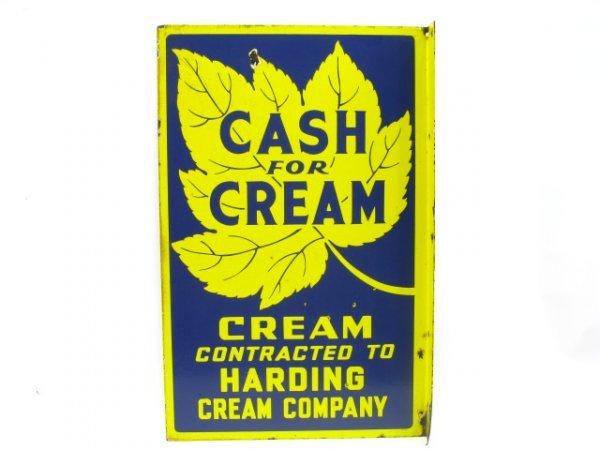 HARDING CREAM PORCELAIN SIGN: 'CASH FOR CREAM'