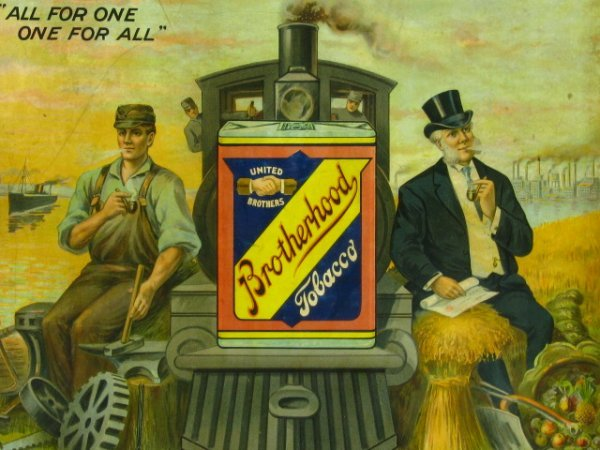 BROTHERHOOD TOBACCO ADVERTISING POSTER C 1890