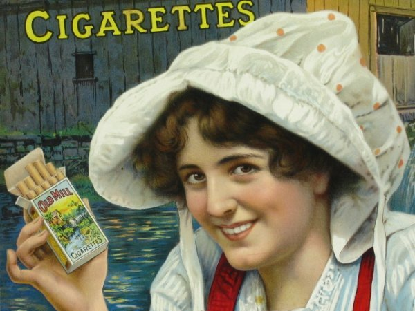 OLD MILL CIGARETTES POSTER IN ADVERTISING FRAME