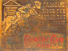 EMBOSSED PLAQUE FOR GOETZ COUNTRY CLUB BEER