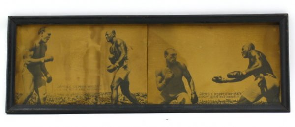 C 1910 WHISKY AD WITH BLACK BOXER JACK JOHNSON