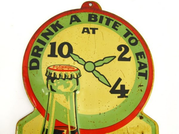 1930'S DR. PEPPER TIN THERMOMETER W/ EMBOSSED BOTTLE