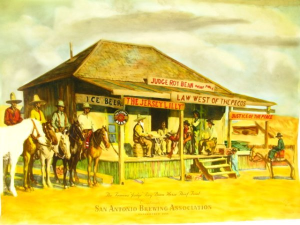 1945 PEARL BEER PAPER SIGN WITH JUDGE ROY BEAN - 2