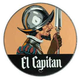 A RARE SANTA FE ''EL CAPITAN'' GLASS DRUMHEAD SIGN LENS