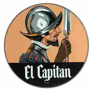 A RARE SANTA FE ''EL CAPITAN'' GLASS DRUMHEAD SIGN LENS