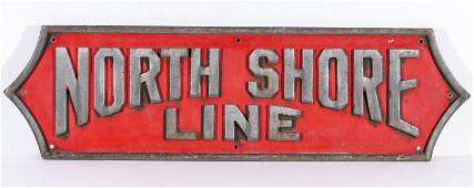 A CAST ALUMINUM SILVERLINER PLAQUE FOR NORTH SHORE LINE