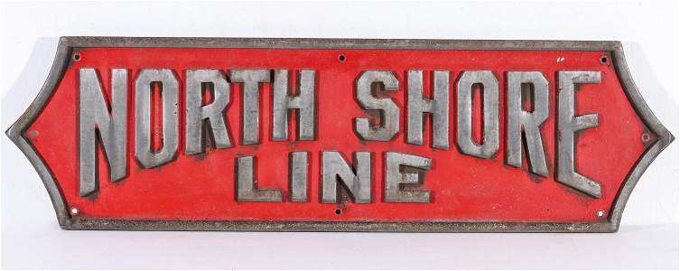 A CAST ALUMINUM SILVERLINER PLAQUE FOR NORTH SHORE LINE