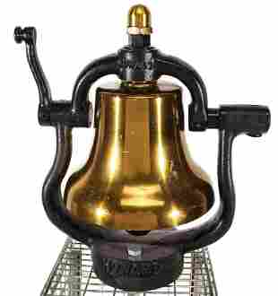 A HOWARD 12-INCH LOCOMOTIVE BELL WITH RED INTERIOR