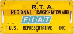 RARE CAR SIGN FROM FIAT ROCK ISLAND ''RAVIOLI'' ROCKET