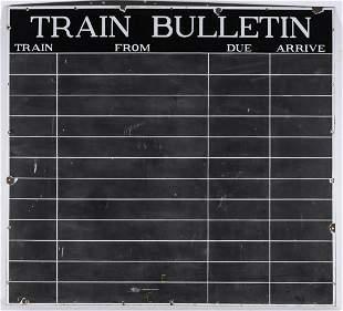 A LARGE PORCELAIN ENAMEL TRAIN BULLETIN SCHEDULE BOARD